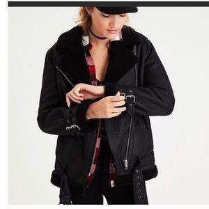 AE Black Sherpa Lined Moto Jacket